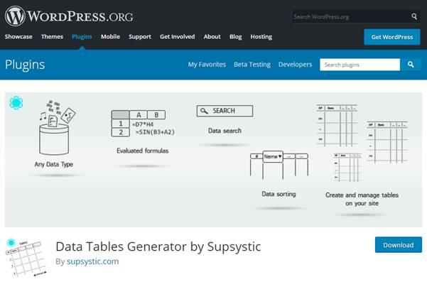 Data Tables Generator Plugin (WordPress)