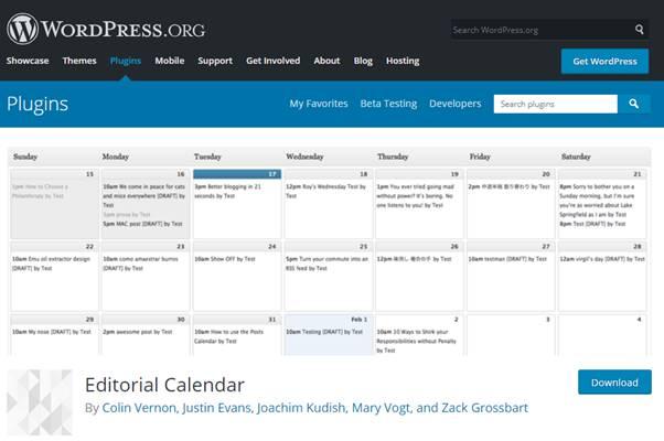 Editorial Calendar Plugin (WordPress)