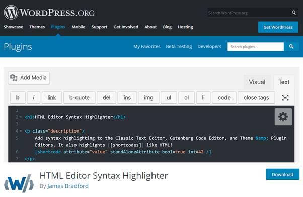 HTML Editor Syntax Highlighter Plugin (WordPress)