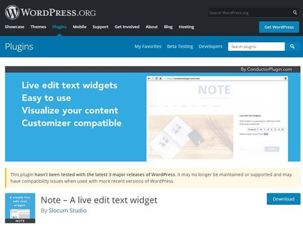 Note – A live edit text widget Plugin (WordPress)