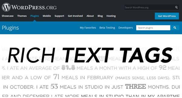 Rich Text Tags Plugin (WordPress)