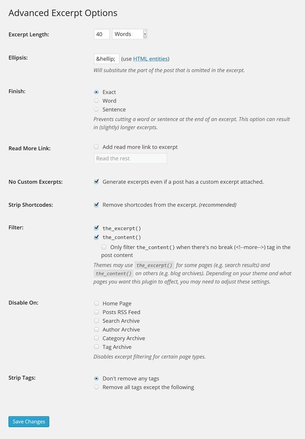 Screenshot-Advanced Excerpt Plugin (WordPress)