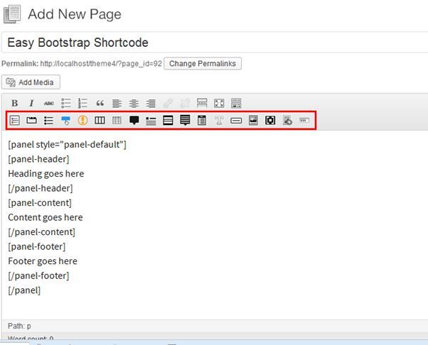Screenshot-Easy Bootstrap Shortcode Plugin (WordPress)