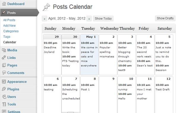 Screenshot-Editorial Calendar Plugin (WordPress)