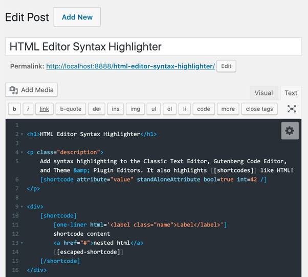 Screenshot-HTML Editor Syntax Highlighter Plugin (WordPress)