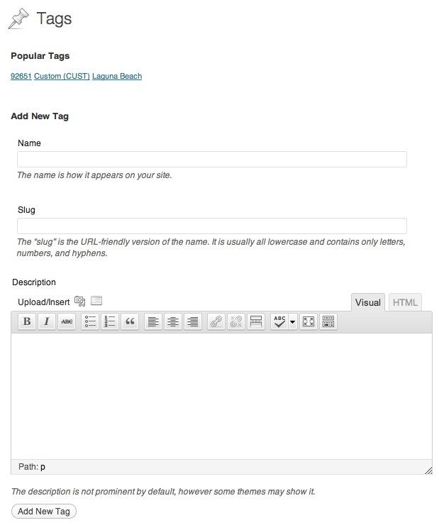 Screenshot-Rich Text Tags Plugin (WordPress)