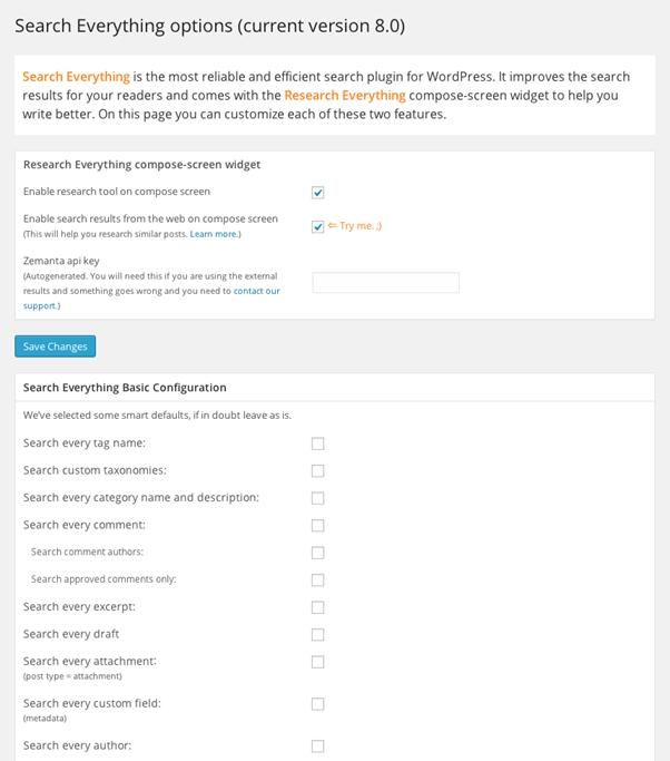 Screenshot-Search Everything Plugin (WordPress)