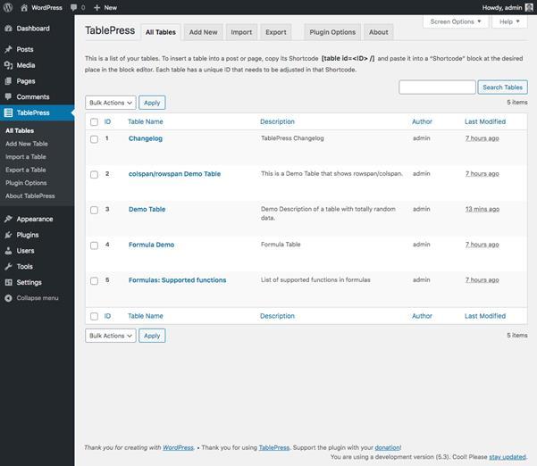 Screenshot- TablePress Plugin (WordPress)