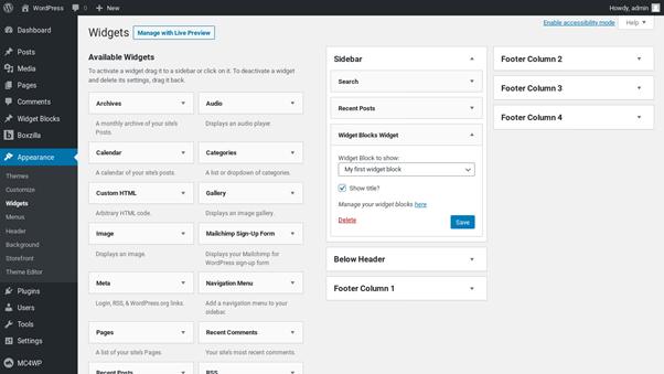 Screenshot-Widget Content Blocks Plugin (WordPress)