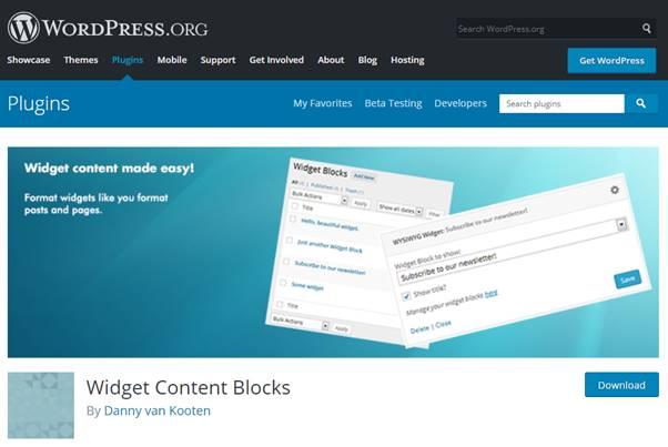 Widget Content Blocks Plugin (WordPress)