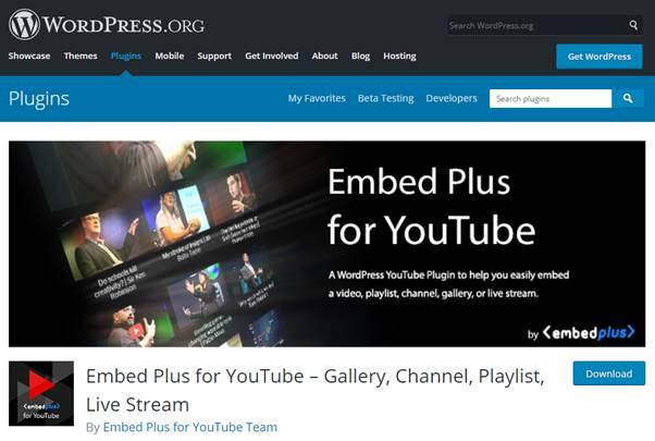 YouTube Embed Plugin (WordPress)