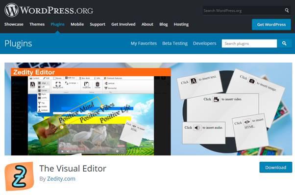 Zedity (The Visual Editor) Plugin (WordPress)