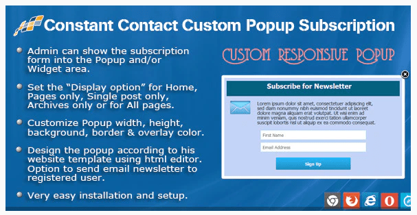 Constant Contact Custom Popup Subscription For WordPress