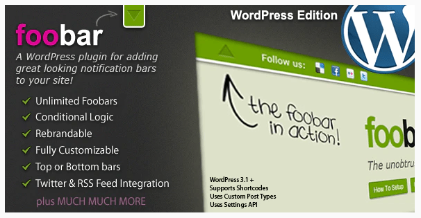 Foobar – WordPress Notification Bars