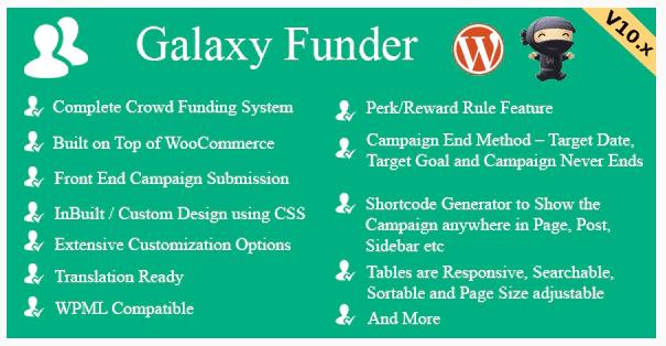 Galaxy Funder – WooCommerce Crowdfunding System WordPress Plugin
