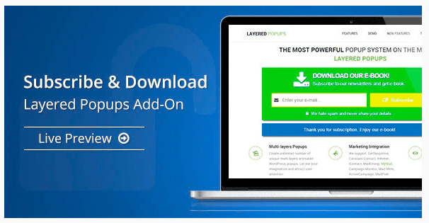 Subscribe & Download - Layered Popups Add-On WordPress Plugin